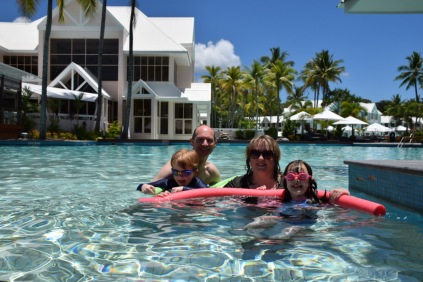 Jago family in the pool